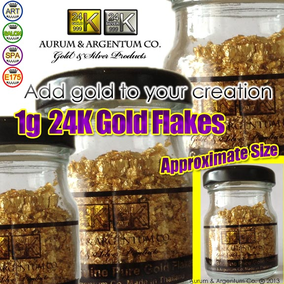 24k pure gold flakes in glass bottle 1g Real Gold | Edible Gold Leaf