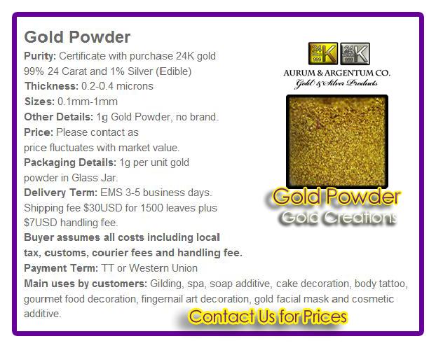 gold powder 24k wholessale