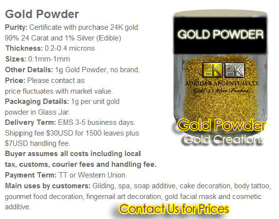buy edible gold powder used for cooking gourmet food 24k copy
