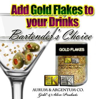 bartender has flair with gold flakes in for mixed drinks cocktails
