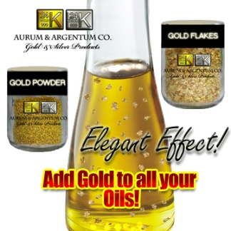 massage oil with gold flakes olive